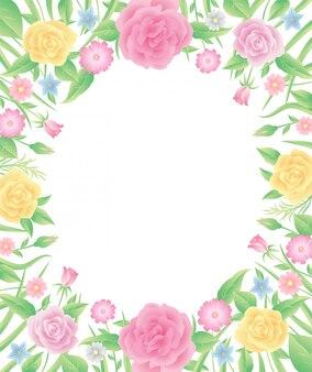 Kwiatowa rama, kwiaty róży z liśćmi, dobre wykorzystanie do karty, plakatu lub dowolnego projektu, który chcesz.