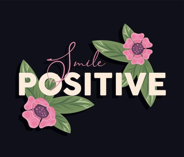 Kwiatowa rama plakatowa natura z pozytywnym projektem ilustracji uśmiech