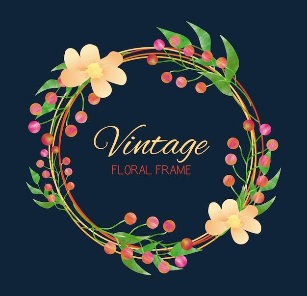 Kwiatowa rama w stylu vintage. styl akwareli