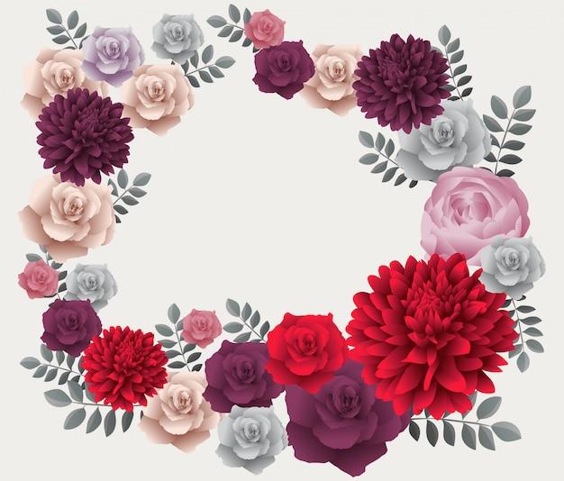 Kwiatowa rama z rocznika kolorowe kwiaty