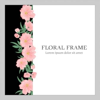 Kwiatowa rama z różowym bukietem kwiatów i zielenią