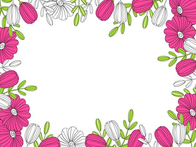 Kwiatowa ramka. element dekoracyjny do dekoracji