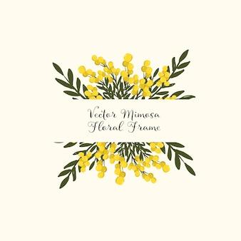 Kwiatowa ramka mimozy