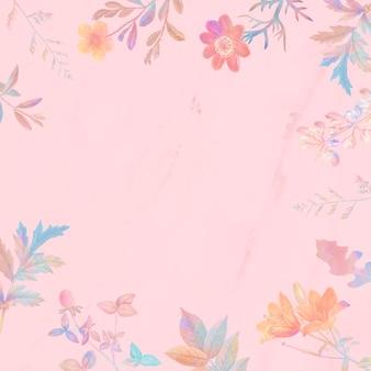 Kwiatowa ramka na różowym tle