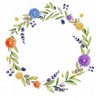 Kwiatowa ramka narysowana akwarelą