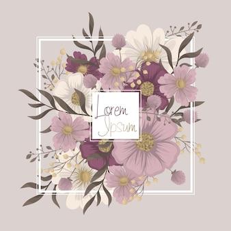 Kwiatowa ramka - różowy kwiat granicy