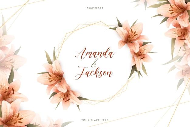 Kwiatowa ramka ślubna akwarela ze szczegółowymi liliami
