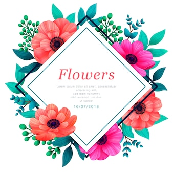 Kwiatowa ramka tropikalne kwiaty modny szablon