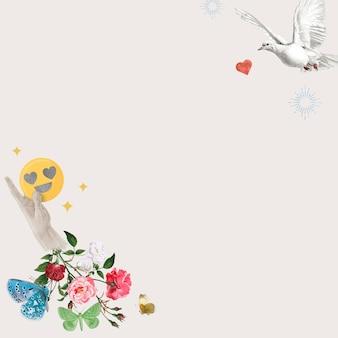 Kwiatowa ramka w mediach społecznościowych z ptakami miłości zremiksowane media