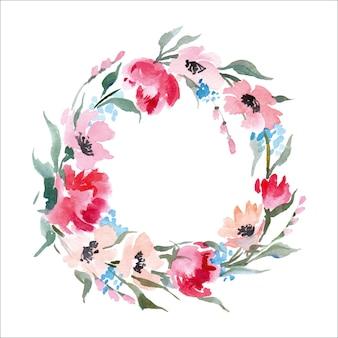 Kwiatowa ramka wieniec z akwarelowych kwiatów idealny na zaproszenia ślubne i kartki urodzinowe