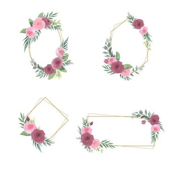 Kwiatowa ramka z akwarelowymi bukietami kwiatów i złotymi ramkami
