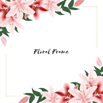 Kwiatowa ramka z bukietem kwiatów lilii