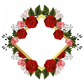 Kwiatowa ramka z czerwonymi różami