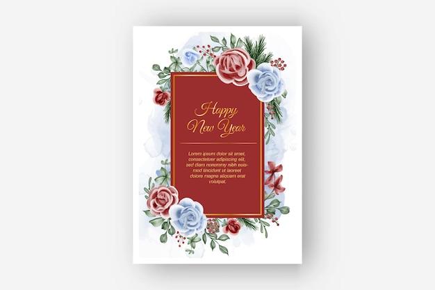 Kwiatowa ramka z różą czerwony niebieski motyw zimowy nowy rok tle