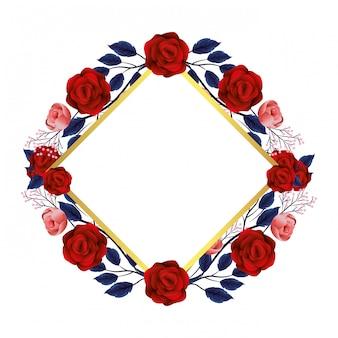 Kwiatowa ramka z różami
