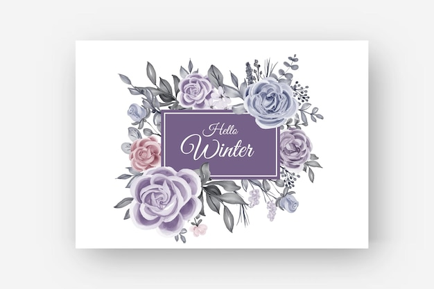 Kwiatowa ramka zimowa granica z kwiatem róży i liśćmi