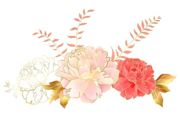 Kwiatowa winieta ozdobna z różowo-czerwonymi kwiatami piwonii. botaniczny wystrój elegancji na wesela i romantyczne uroczystości, do projektowania kosmetyków lub perfum