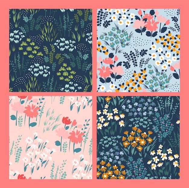 Kwiatowe abstrakcyjne wzory bez szwu.