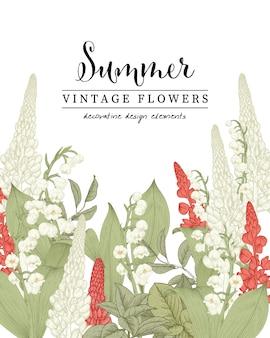 Kwiatowe ilustracje botaniczne, konwalie i rysunki kwiatów łubinu.