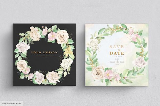 Kwiatowe liście na zaproszenie na ślub