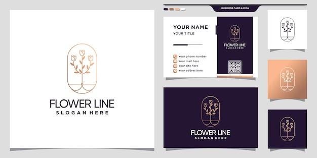 Kwiatowe logo róży w stylu sztuki linii i unikalna nowoczesna koncepcja i projekt wizytówki