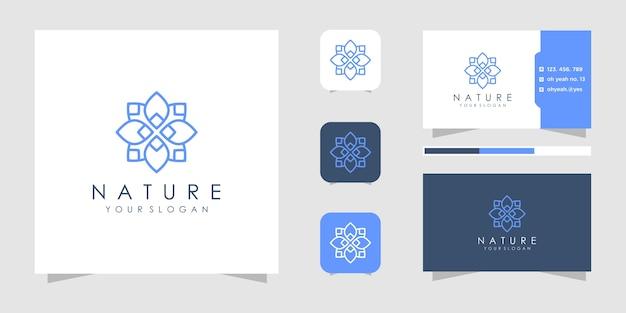 Kwiatowe logo w stylu linii. logo i wizytówki.