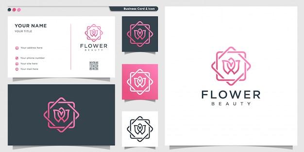Kwiatowe logo z nowoczesną koncepcją piękna i szablonem projektu wizytówki