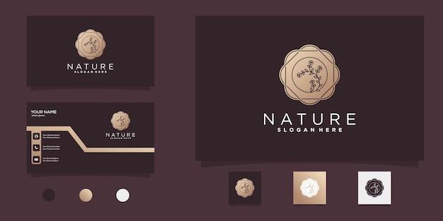 Kwiatowe logo z złotym negatywnym przestrzeni nowoczesny styl i projekt wizytówki premium wektorów