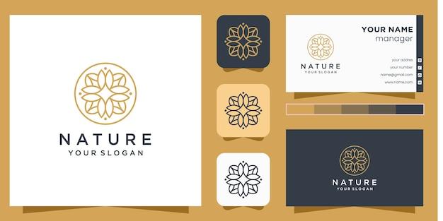 Kwiatowe logo ze stylem grafiki liniowej i wizytówką