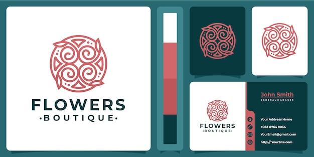 Kwiatowe luksusowe logo butiku z projektem wizytówki