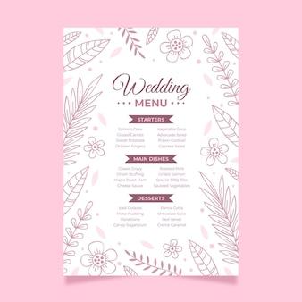 Kwiatowe minimalistyczne menu weselne