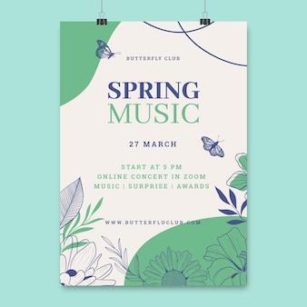 Kwiatowe monokolorowe wiosenne plakaty