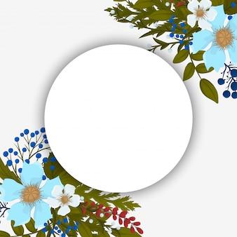Kwiatowe okrągłe obramowanie czerwone, jasnoniebieskie, białe kwiaty