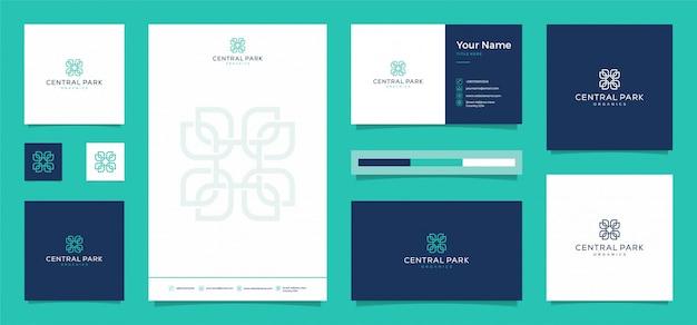 Kwiatowe organiczne logo z bezpłatną wizytówką i papierem firmowym