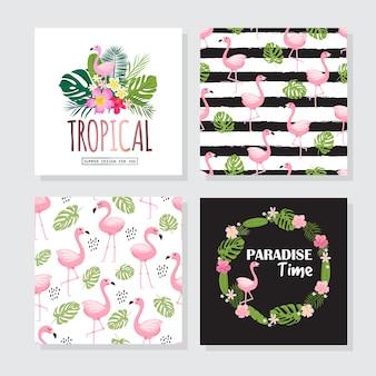 Kwiatowe plakaty w tropikalnym stylu z egzotycznymi liśćmi, kwiatami, flamingami. może być stosowany do kartek, plakatów, zaproszeń, ulotek. ilustracja wektorowa