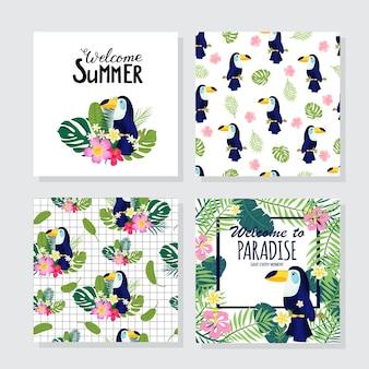 Kwiatowe plakaty w tropikalnym stylu z egzotycznymi liśćmi, tukanem, kwiatami. może być stosowany do kartek, plakatów, zaproszeń, ulotek. ilustracja wektorowa