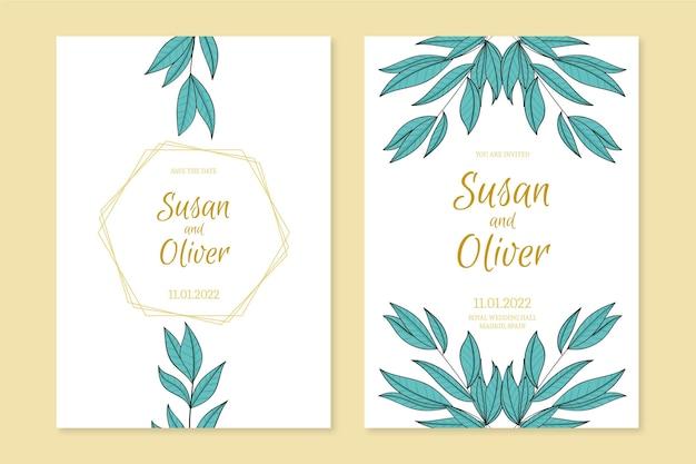 Kwiatowe ręcznie rysowane zaproszenie na ślub