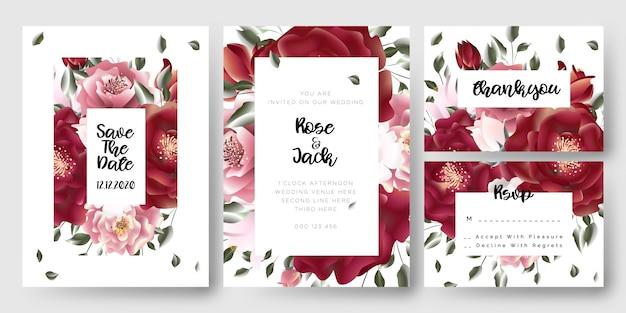 Kwiatowe róże ślub zapisz karty z zaproszeniem