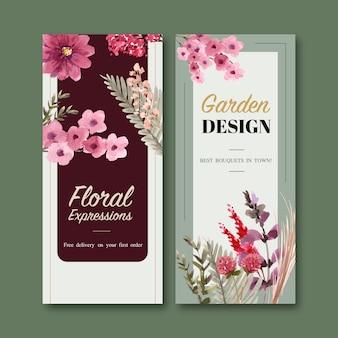 Kwiatowe szablony ulotki w stylu przypominającym akwarele