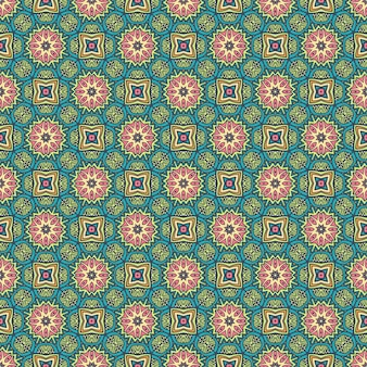 Kwiatowe sztuki retro etniczne bezszwowe wzornictwo świąteczny kolorowy wzór kafelkowy