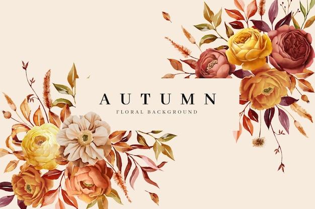 Kwiatowe tło granicy z jesienną naturą
