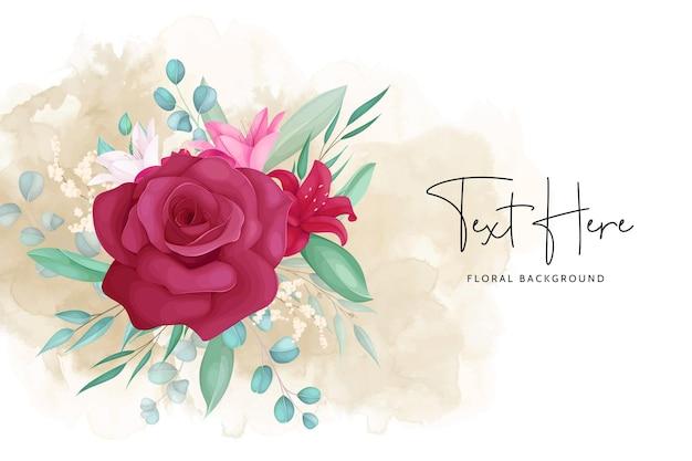 Kwiatowe tło z ręcznie rysowaną piękną ramką kwiatową