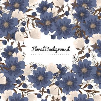 Kwiatowe wzory graniczą niebieskie kwiaty