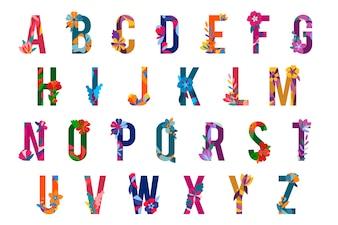Kwiatowe wzorzyste litery