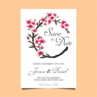 Kwiatowe zaproszenia ślubne w stylu akwareli