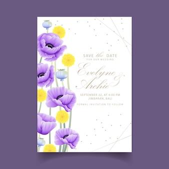 Kwiatowe zaproszenie na ślub z kwiatem eukaliptusa, maku, anemonu i craspedia