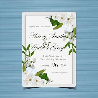 Kwiatowe zaproszenie na ślub z piękne białe kwiaty