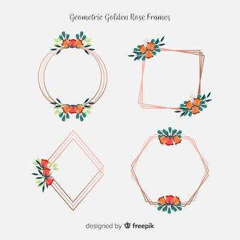 Kwiatowe złote ramki róży