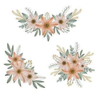 Kwiatowy akwarela miękki pomarańczowy układ