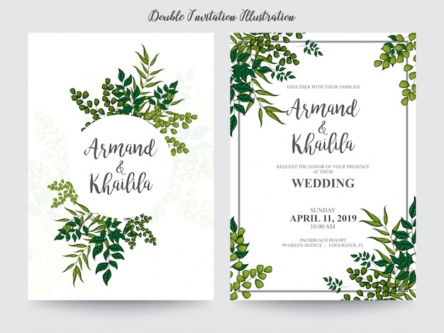 Kwiatowy akwarela na zaproszenie projekt ilustracji
